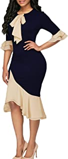 HZSONNE Women's Crew Neck Bow Tie Half Bell Sleeve Patchwork Ruffle Hem S-Line Bodycon Fishtail Gown Maxi Dress Outfit