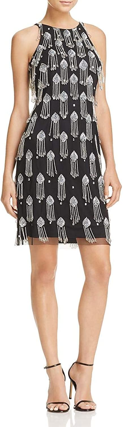 Aidan Mattox Womens Beaded Formal Cocktail Dress