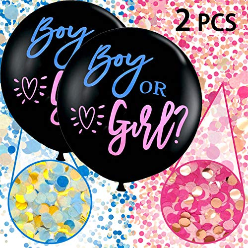 Annhao Reveal di Genere Palloncino, 2 Pezzi Baby Shower Balloon Boy or Girl Reveal Party Palloncino da 36 Pollici(Circa 92 cm) con Rosa Blu coriandoli per Ragazzo o Ragazza Decorazione Party