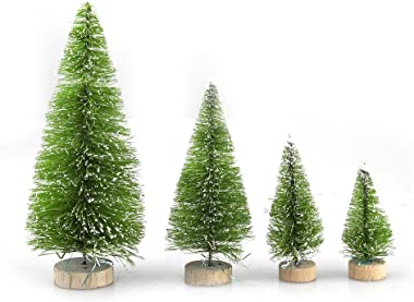 TITA-DONG 49Pcs Mini Christmas Trees,Bottle Brush Trees Set - Artificial Frosted Sisal Christmas Tree with Wood Base,Miniature Pine Trees DIY Crafts Sisal Trees for Christmas Table Room Decor
