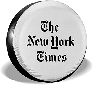 Spare Tire Cover, New York Times Printing Wheel Protectors PVC Waterproof Dustproof for Jeep Trailer SUV RV and Many Vehicles(14,15,16,17 Inch)