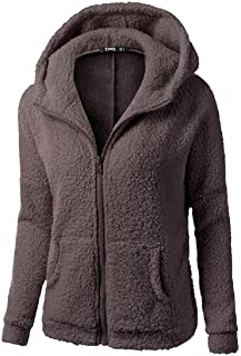 Thicken Solid Fall-Winter Hoodie Fuzzy Long Sleeve Jacket Full Zip Sweatshirt Coat 3 Small