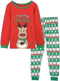 PowerFul-LOT 2PCS Family Christmas Long Sleeve Cute Print T-Shirt+Stripe Pants Pajamas,Women,Kid,Baby Print Blouse Tops an...