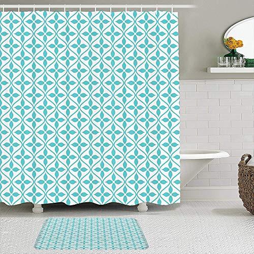 Juego de cortinas de ducha de 2 piezas con alfombra de baño antideslizante,Líneas onduladas verticales con flores Azulejo temático de la temporada de pri,12 ganchos,Decoración de baño personalizada