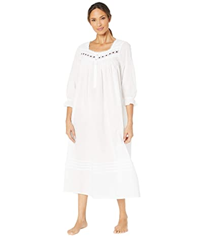 Eileen West Cotton Lawn Woven Long Sleeve Ballet Nightgown (White) Women