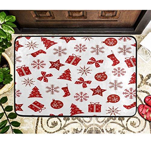 Joe-shop Alfombrillas de Navidad Bolas de árbol Estrella Copo de Nieve Alfombra de Piso Entrada Interior al Aire Libre Baño Felpudo Invierno Vacaciones Bienvenido Matmas Decoración 60x39 Pulgadas