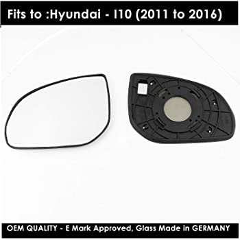 FITS HYUNDAI i10 SE 2014 DOOR WING MIRROR GLASS HEATED CLIP IN CONVEX LEFT SIDE