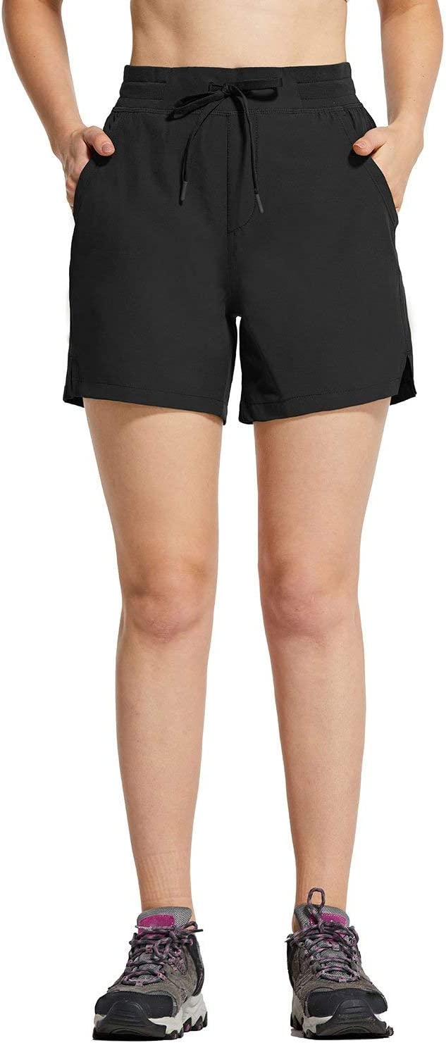 BALEAF Womens 5 Hiking Shorts with Zip Pocket Quick Dry Athletic Running Shorts Elastic Waist