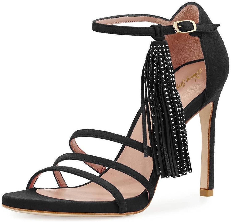NJ kvinnor Open Toe Strappy Strappy Strappy High klackar Dress Sandals Ankle remmar Dancing skor with Fringaaes  försäljning online spara 70%