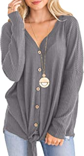 Fessceruna Women Waffle Knit Tunic Blouse Tie Knot Henley Top Button Down V Neck Batwing Shirts