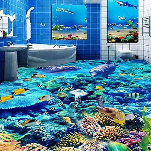 Benutzerdefinierte Größe 3D Fototapete Unterwasserwelt Bodenbelag PVC Badezimmer 3D Raum Boden Dekoration Wandbild Vinyl Tapete Wohnkultur, 150 * 105 cm