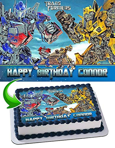 Transformers Optimus Prime Bumblebee Edible Image Cake Topper Party Personalized 1/4 Sheet