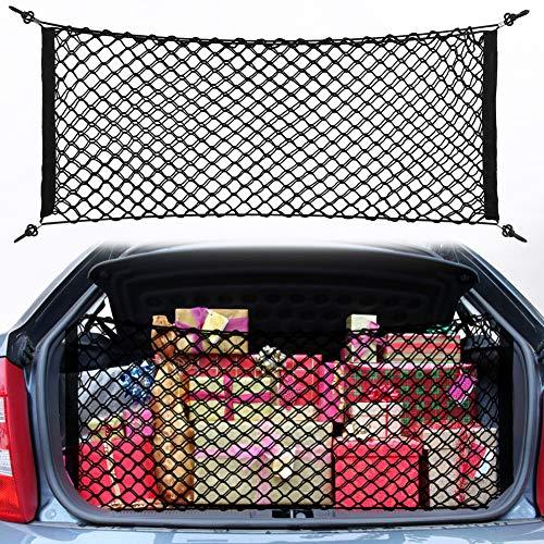 Haofy Kofferraum Netztasche Auto Gepäcknetz 100x40 cm Auto Kofferraum Netz Flexibel Elastisch Aufbewahrung Netz aus Nylon mit 4 Haken für meisten Fahrzeugtypen mit Aufbewahrungstasche