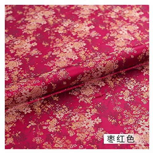 VIAIA Brokat Satin Stoff Schönes Kleid Stoffmaterial für das Herstellen von Cheongsam und Kimono (Farbe : Burgundy, Size : 50x75cm)