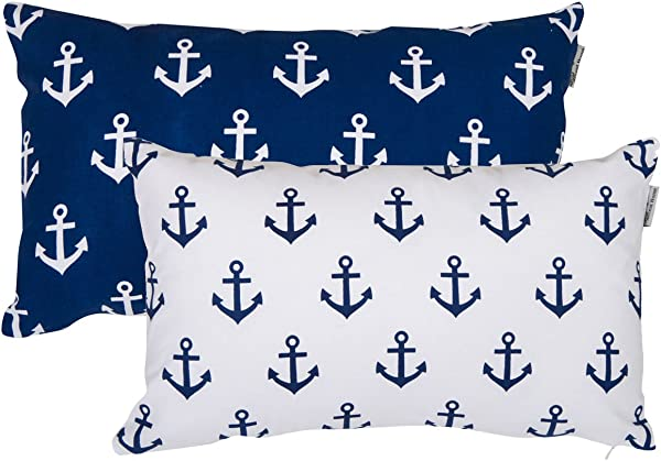 Accent Home Printed Cotton Cushion Cover Throw Pillow Case Slipover Pillowslip For Home Sofa Couch Chair Back Seat 2pc Pack 12 X20 ANCHOR Design In Royal Blue Color