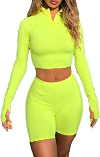 Women's Sexy Front Zipper Long Sleeve Skinny Crop Top Shorts Two Piece Set Tracksuit