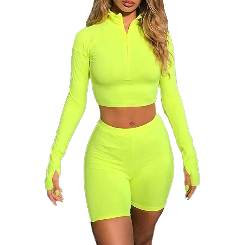 ALERDON Women's Sexy Front Zipper Long Sleeve Skinny Crop Top Shorts Two Piece Set Tracksuit