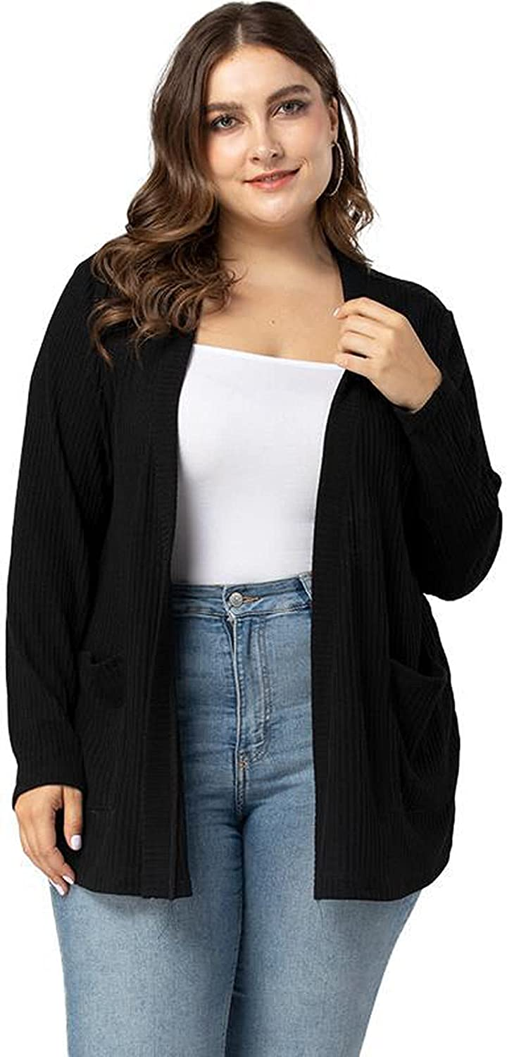 YOUJIOU Casual Women's Plus Size Cardigans of Sweaters Tops with Pockets,Black