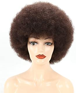 FengYing Short Fluffy Afro Wigs for Black Women, Brown Big Afro Wig 70s Large Bouncy and Soft Natural Looking Synthetic Wi...