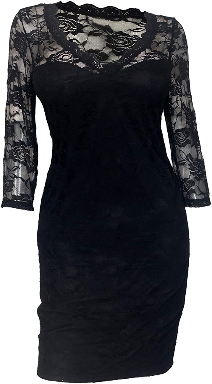 eVogues Plus Size Floral Lace Round Neck Sleeveless Dress with Bow Detail Black