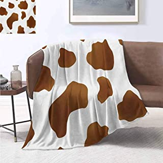 jecycleus Cow Print Children's Blanket Brown Spots on a White Cow Skin Abstract Art Cattle Fur Farm Animals Cowboy Barn Lightweight Soft Warm and Comfortable W70 by L90 Inch White Brown