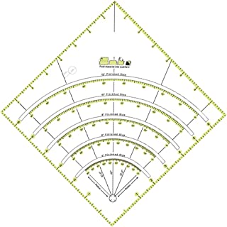 Kangmeile Regla de Acolchado de acrílico, Arcos y Ventiladores Edredón Círculo Cortador Regla Corte Patchwork Regla Acolchadores acrílicos Regla, Círculos Savvy Quilt Ruler con líneas de Doble Color