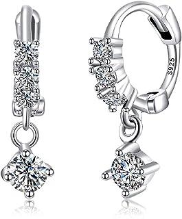 Sterling Silver Hoop Earrings White Gold Plated Multi Piercing Earrings for Women Girls Upper Standard Lobe Helix