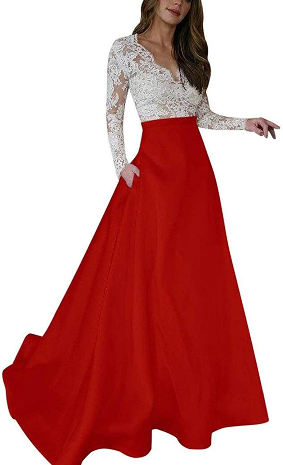 Sulidi Womens Deep VNeck Lace Long Sleeve Prom Dresses with Pockets Evening Formal Dress 2019 C241