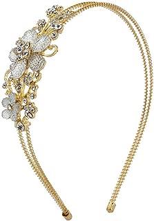 Lux Accessories Floral Stone Bridal Flower Girl Wire Wedding Bridesmaid Headband