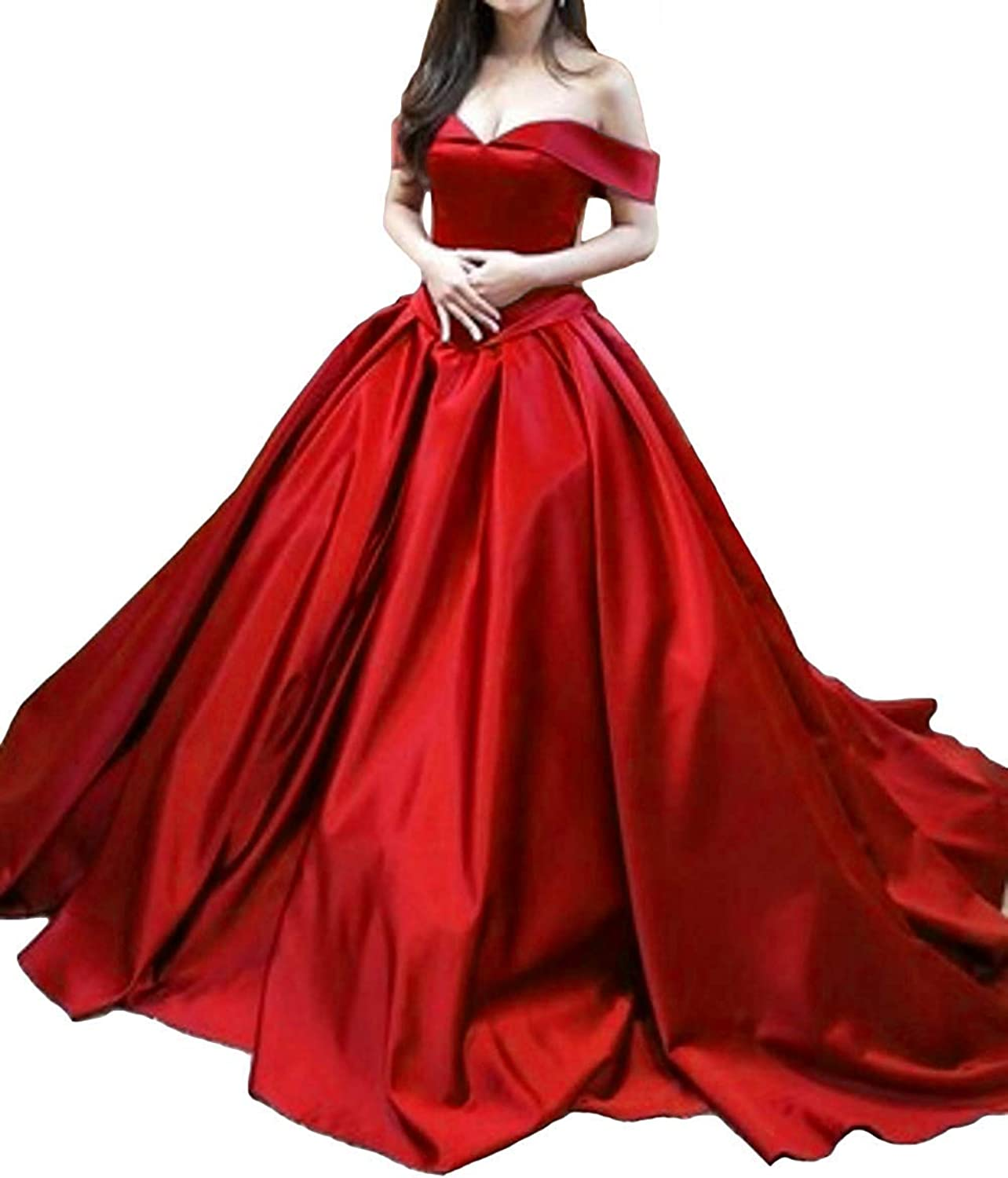XKYU Women's Vintage Ball Gown Long Satin Prom Dresses ALine Off The Shoulder Evening Dresses with Pockets