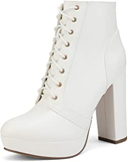 Best white chunky heel ankle boots Reviews