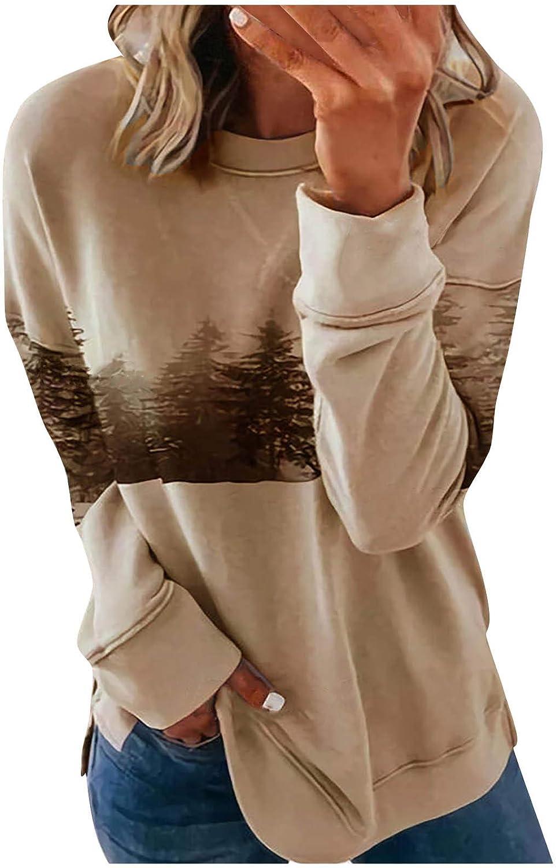 FABIURT Sweatshirts for Women Casual Forest Printed Color Block Long Sleeve Sweatshirt Loose T shirts Blouse Tunic Tops