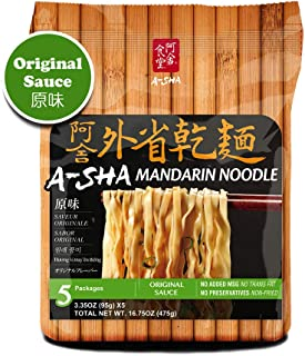 Asha Healthy Ramen Noodles, Medium Width Mandarin Noodles, Original Sauce Flavor, 5 Pouches Per Servings, 3.35 Ounce (95 grams), Pack of 1