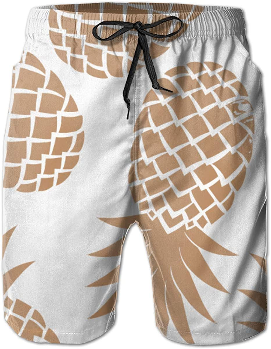 Cey99P-A Mens Pineapples Quick Dry Short Swim Trunk, Slim Fit Surf Beach Shorts with Pockets for Mens