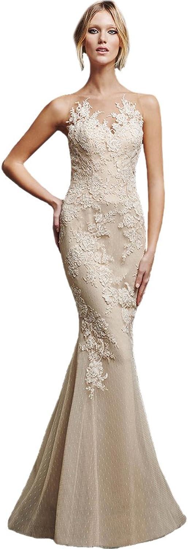 AK Beauty Women's Sexy Sleeveless Long Gown Appliques Mermaid Evening Formal Dress