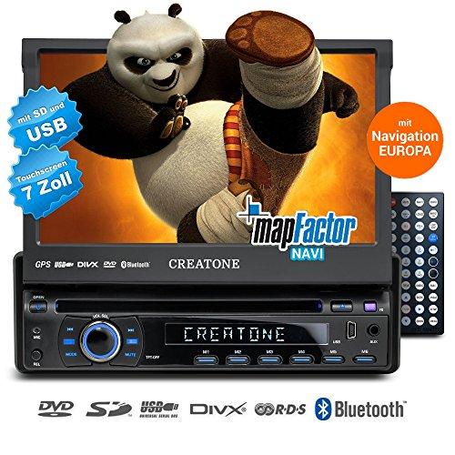 1 DIN Sistema car audio CREATONE CTN-8422D26 con GPS GPS, Bluetooth, Reproductor DVD, pantalla táctil, reproductor de DVD y USB / SD