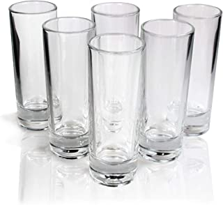 Tequila Tall Shot Glasses, Heavy Base Crystal Clear Drinking Glassware Bar Kit, Set of 6