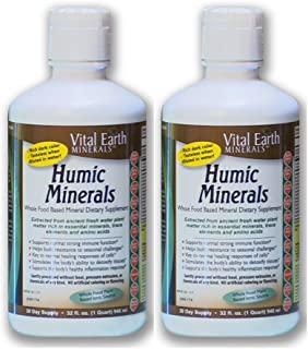 2 Pack- Vital Earth Minerals Humic Minerals - 32 Fl. Oz. - 1 Month Supply (Each)- Vegan Liquid Trace Mineral Multimineral Supplement - Almost Tasteless - Whole Food Plant-Based Ionic Minerals