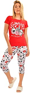 Habiba Cotton Round-Neck T-Shirt with Printed Cropped Leggings Pajama Set for Women - Red and White