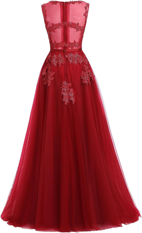 Ever Love A-Linie Lang Spitze T¨¹ll R¨¹ckenfrei Abendkleid Ballkleid Hochzeit Brautjungfernkleid mit Tr?ger Rosa