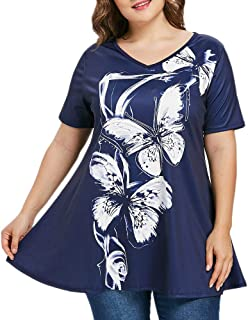 ddd6abf7dc497 iCODOD Women Plus Size Shirt Short Sleeve Butterfly Print V-Neck Tops Blouse