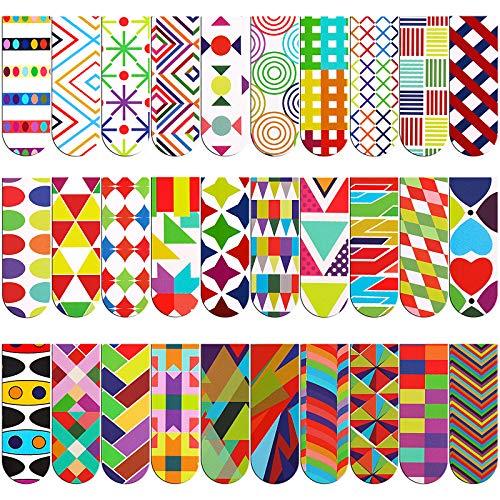 VETPW 30 Stück Geometrie Muster Magnetische Lesezeichen Set, Bunt Magnet Seiten Buchmarkierungen, Optisch Seiten Clips Lesezeichen für Studenten Schule Büro Lesen