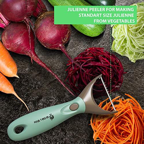 Trio Peeler Set – Blue Julienne Vegetable Peeler – Stainless Steel Cabbage Carrot & Potato Peelers – Multifunctional Veggie and Fruit Peeler Set of 3
