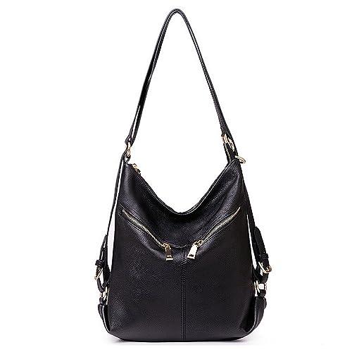 fd19b1e1988c SEALINF Womens Leather Handbag Zipper Shoulder Bag Convertible Backpack  Daypack