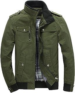 KIWEN Men's Cotton Casual Wear Zip up Windbreaker Jacket