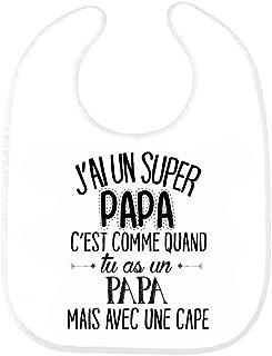 brodé Bavoir Bébé Cadeau Drôle Papa Père Super-héros papa