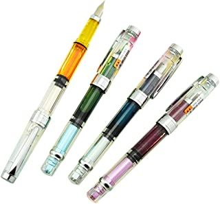 Wing Sung 3008 Piston Fountain Pen EF Extra Fine Nib,Transparent SilverTrim 4 Colors Set