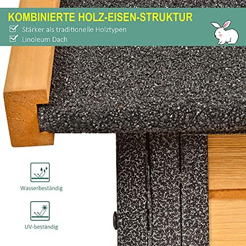 Pawhut Kaninchenstall erhöhtes Haustier Haus mit Abschließbare Tür Outdoor Holz-Metall Hellgelb 122 x 63 x 92 cm