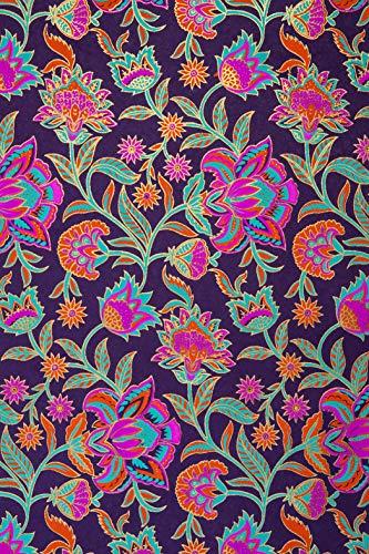 Geschenkpapier, handgefertigt, Blumenmuster, 70 x 50 cm, 3 Stück violett
