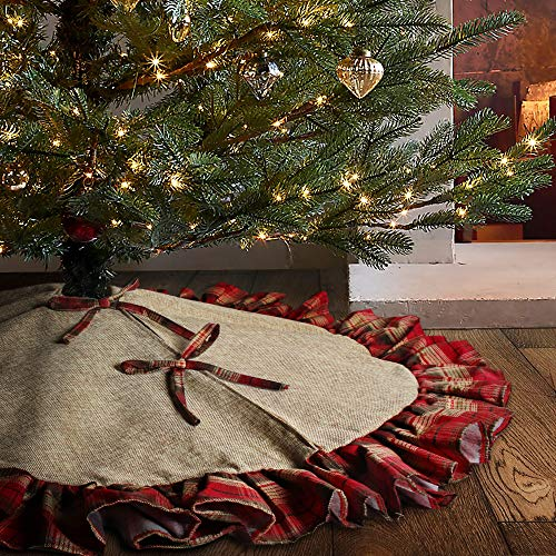 Meriwoods Burlap Christmas Tree Skirt, 48 inches Rustic Jute Xmas Tree Skirt with Raffled Plaid, Country Decorations for Farmhouse Family Home